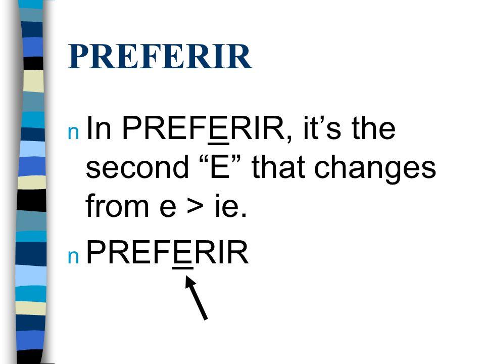 PREFERIR n Preferir is conjugated the same way as Querer and Pensar, however it is an -ir verb. n Use the endings o, es, e, imos, ís, en