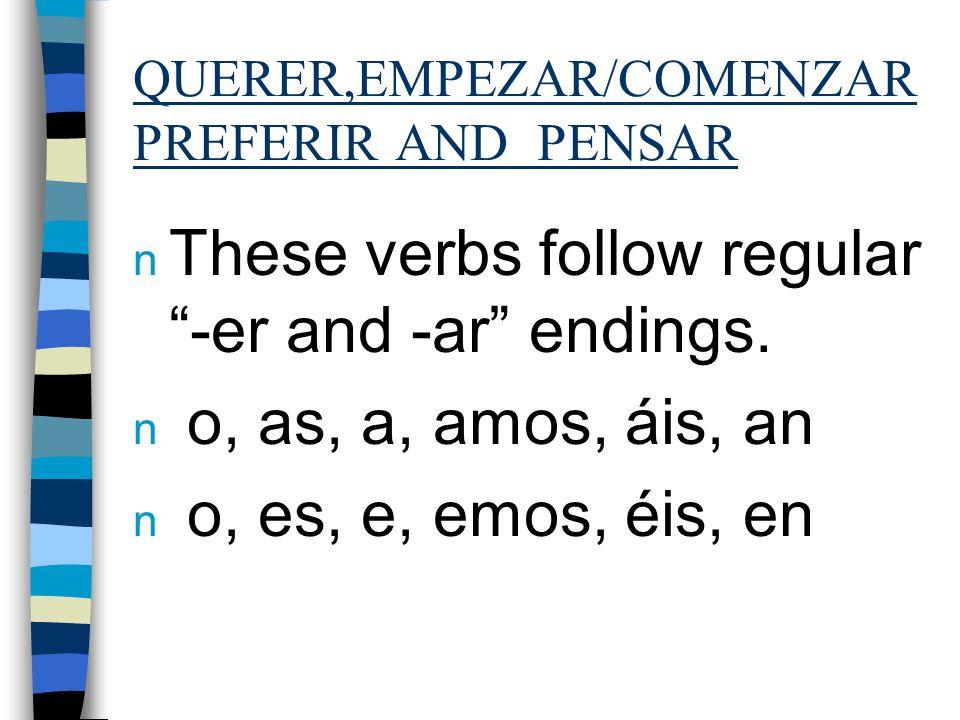 QUERER, PENSAR and EMPEZAR n The stem of querer is… n quer quier n The stem of pensar is… n pens piens n The stem of empezar is … n empez empiez The s