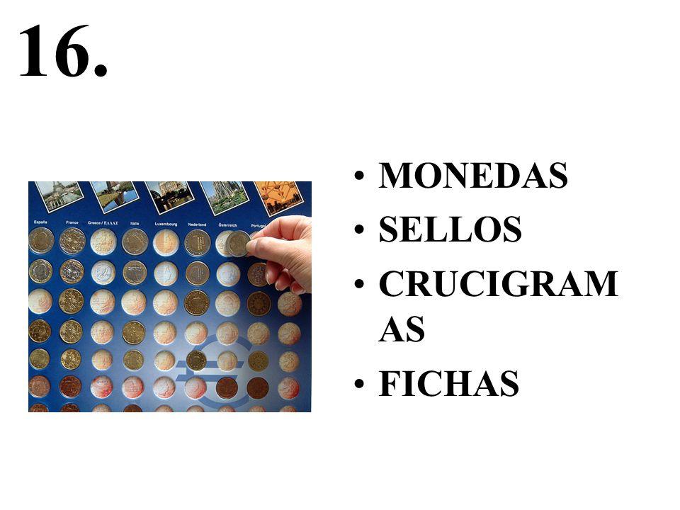 16. MONEDAS SELLOS CRUCIGRAM AS FICHAS