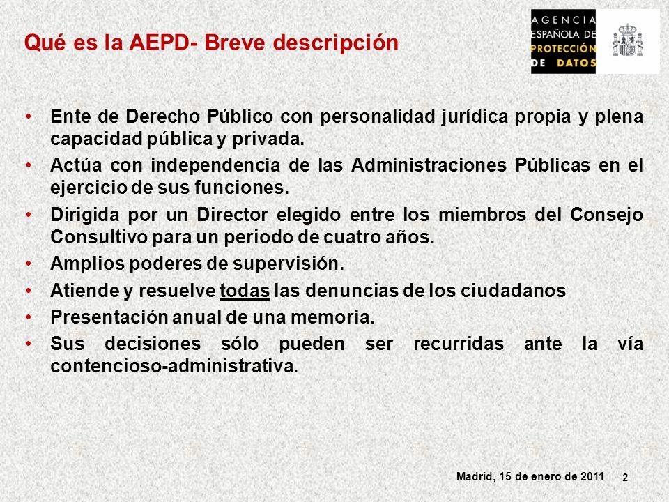 2 Madrid, 15 de enero de 2011 Ente de Derecho Público con personalidad jurídica propia y plena capacidad pública y privada.