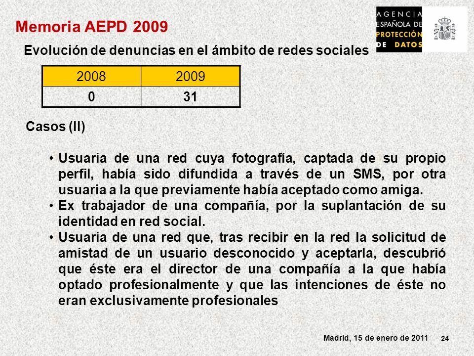 24 Madrid, 15 de enero de 2011 Evolución de denuncias en el ámbito de redes sociales Casos (II) Usuaria de una red cuya fotografía, captada de su propio perfil, había sido difundida a través de un SMS, por otra usuaria a la que previamente había aceptado como amiga.