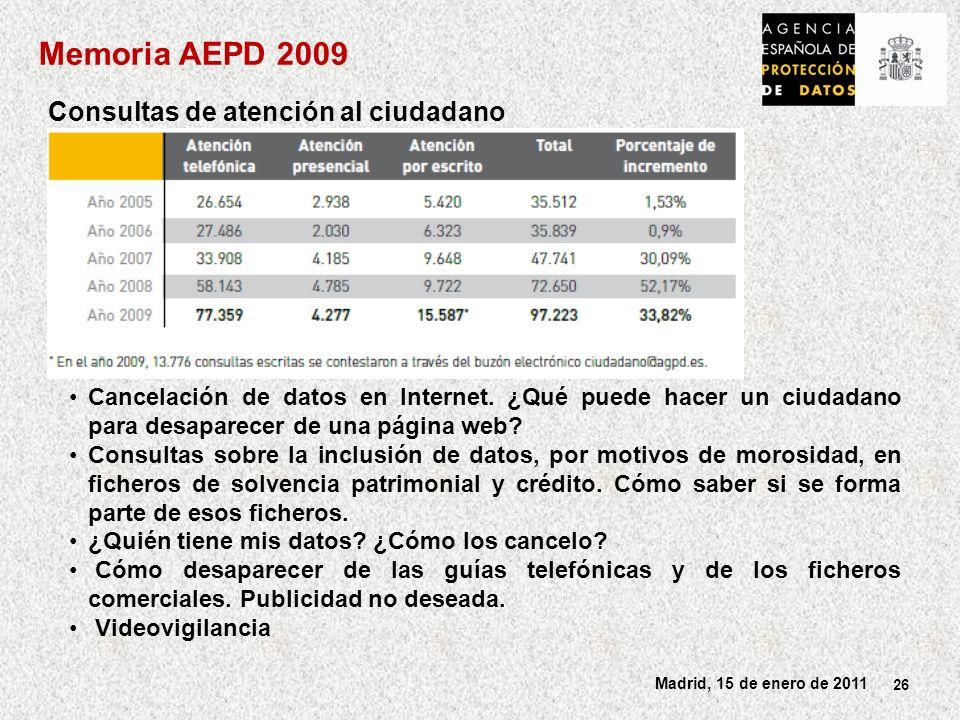 26 Madrid, 15 de enero de 2011 Consultas de atención al ciudadano Cancelación de datos en Internet.