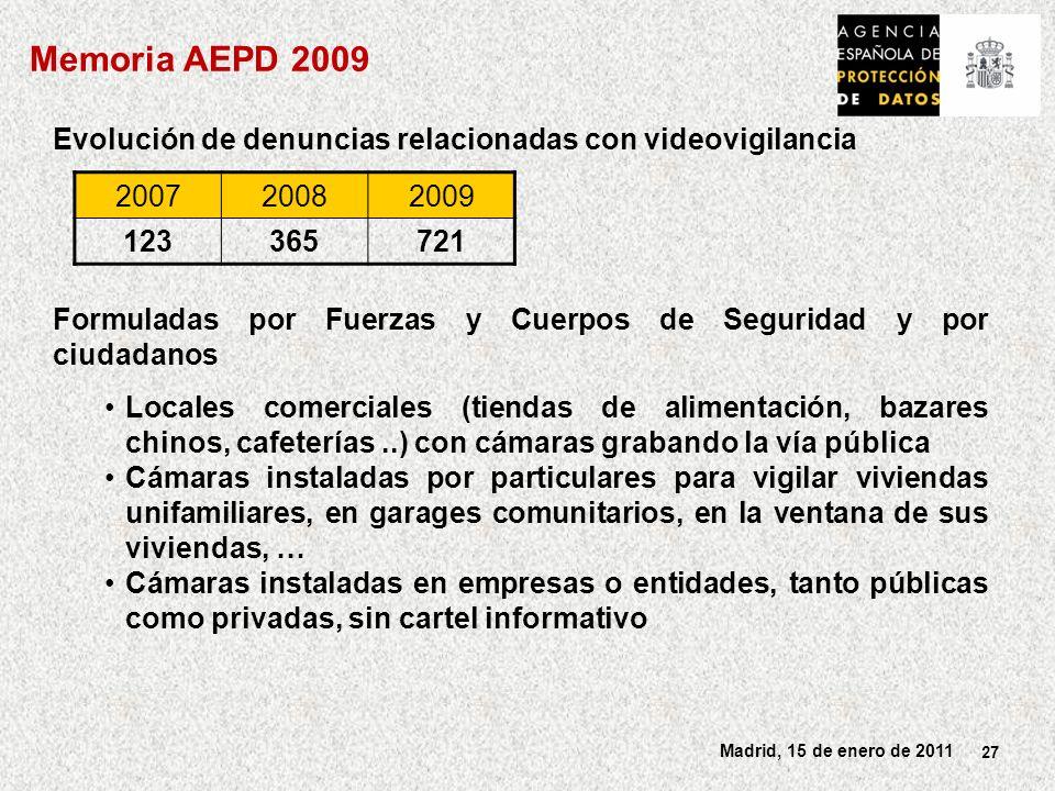 27 Madrid, 15 de enero de 2011 Evolución de denuncias relacionadas con videovigilancia Formuladas por Fuerzas y Cuerpos de Seguridad y por ciudadanos Locales comerciales (tiendas de alimentación, bazares chinos, cafeterías..) con cámaras grabando la vía pública Cámaras instaladas por particulares para vigilar viviendas unifamiliares, en garages comunitarios, en la ventana de sus viviendas, … Cámaras instaladas en empresas o entidades, tanto públicas como privadas, sin cartel informativo 200720082009 123365721 Memoria AEPD 2009