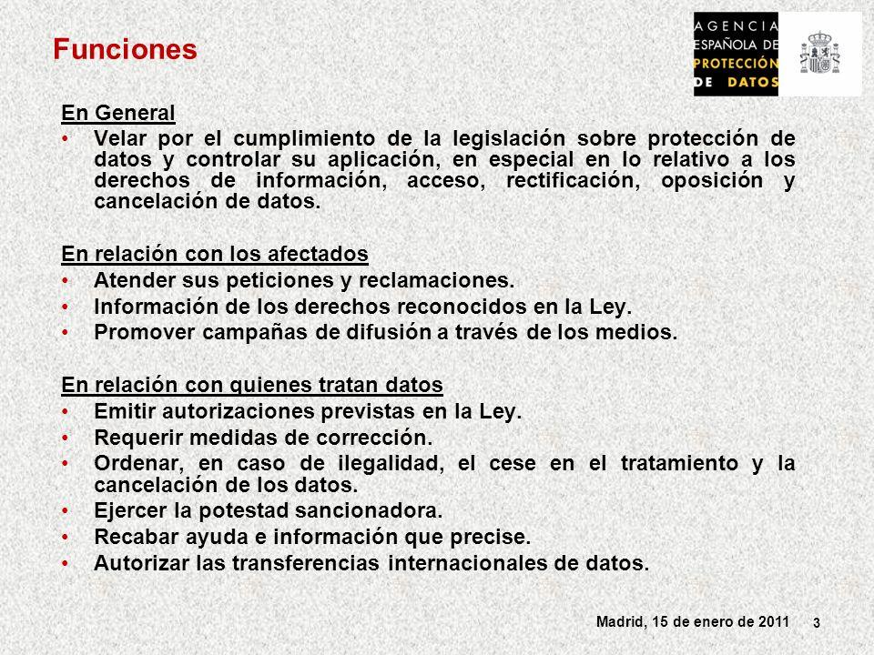 4 Madrid, 15 de enero de 2011 Otras funciones En la elaboración de normas Informar los Proyectos de normas de desarrollo de la LOPD y sobre los Proyectos de normas que incidan en materias de protección de datos.