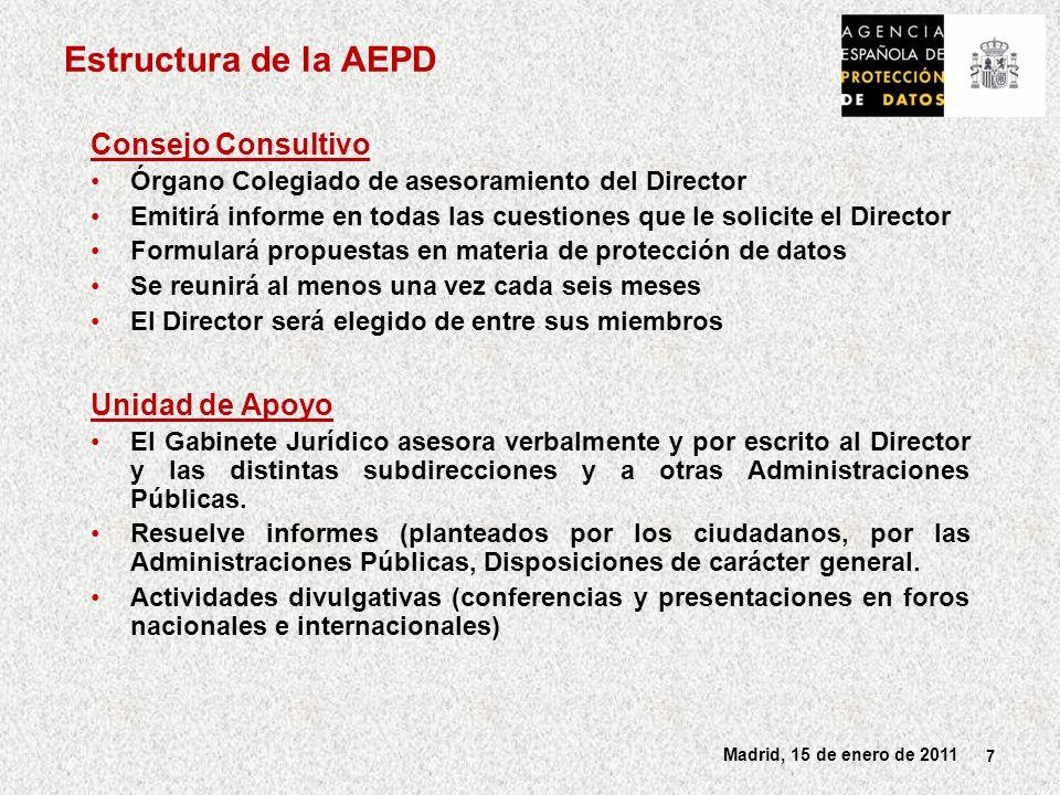 8 Madrid, 15 de enero de 2011 Subdirecciones de la AEPD Registro General de Protección de Datos Función: Velar por la publicidad de los ficheros y tratamientos de datos Inscripción de ficheros notificados Autorización de transferencias internacionales de datos Inscripción de Códigos Tipo Subdirección de Inspección de Datos Comprobación de la legalidad de los tratamientos Inspectores de datos Instrucción de procedimientos (Tutelas de derechos, Procedimientos sancionadores, Procedimientos de infracción por las Administraciones Públicas) Planes de Oficio Finalidad preventiva .