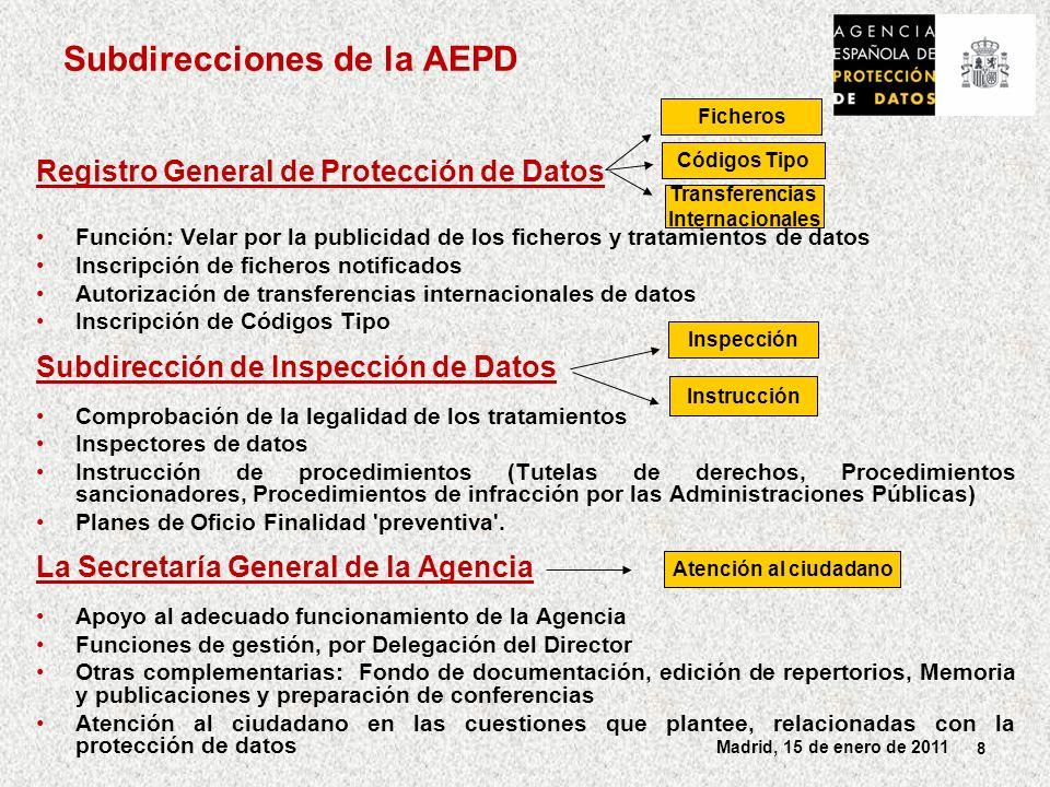 29 Madrid, 15 de enero de 2011 Recomendaciones AEPD Modificar la normativa reguladora del DNI-e para que los menores puedan autenticarse electrónicamente aunque no firmar electrónicamente.