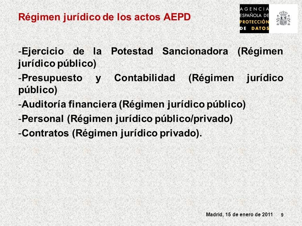 9 Madrid, 15 de enero de 2011 Régimen jurídico de los actos AEPD -Ejercicio de la Potestad Sancionadora (Régimen jurídico público) -Presupuesto y Contabilidad (Régimen jurídico público) -Auditoría financiera (Régimen jurídico público) -Personal (Régimen jurídico público/privado) -Contratos (Régimen jurídico privado).