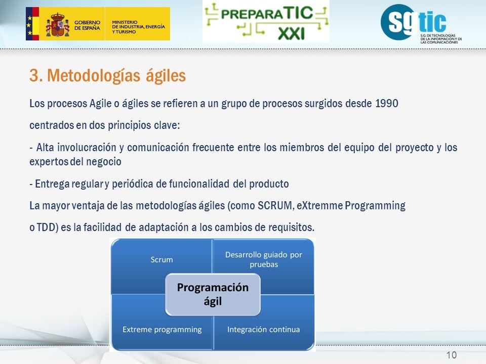 3. Metodologías ágiles Los procesos Agile o ágiles se refieren a un grupo de procesos surgidos desde 1990 centrados en dos principios clave: - Alta in