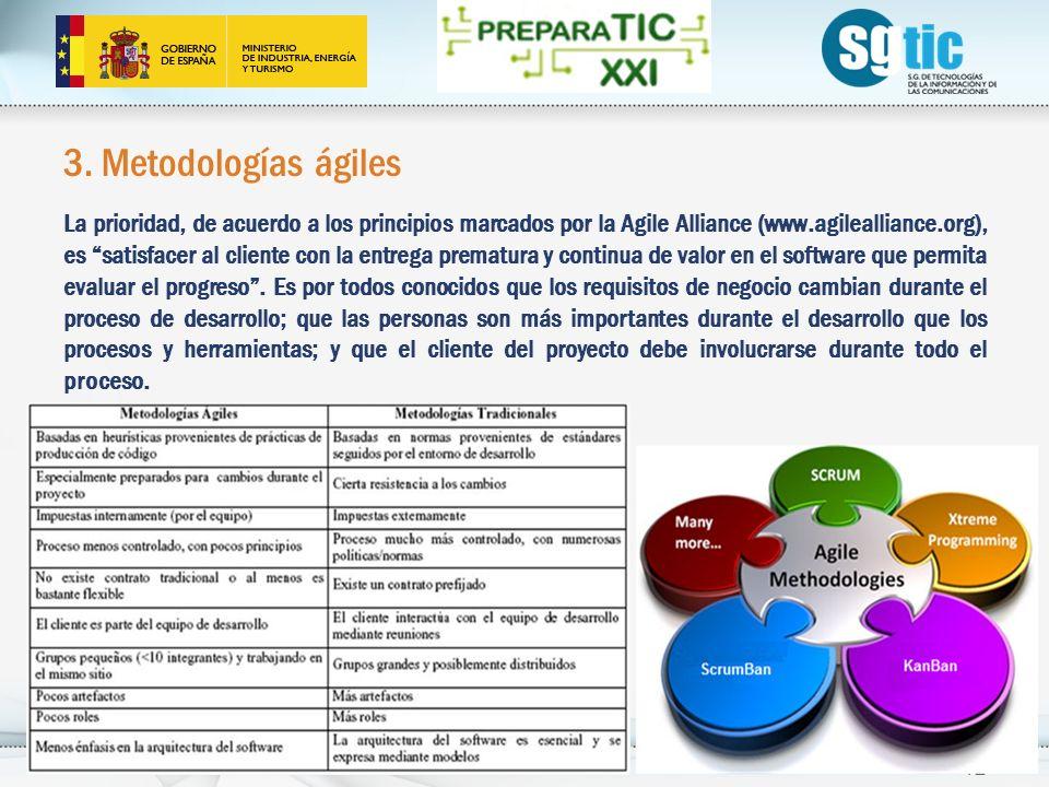 3. Metodologías ágiles La prioridad, de acuerdo a los principios marcados por la Agile Alliance (www.agilealliance.org), es satisfacer al cliente con
