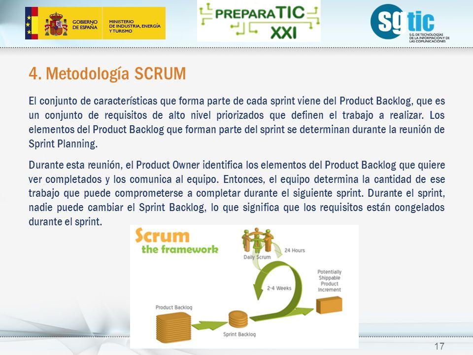 4. Metodología SCRUM El conjunto de características que forma parte de cada sprint viene del Product Backlog, que es un conjunto de requisitos de alto