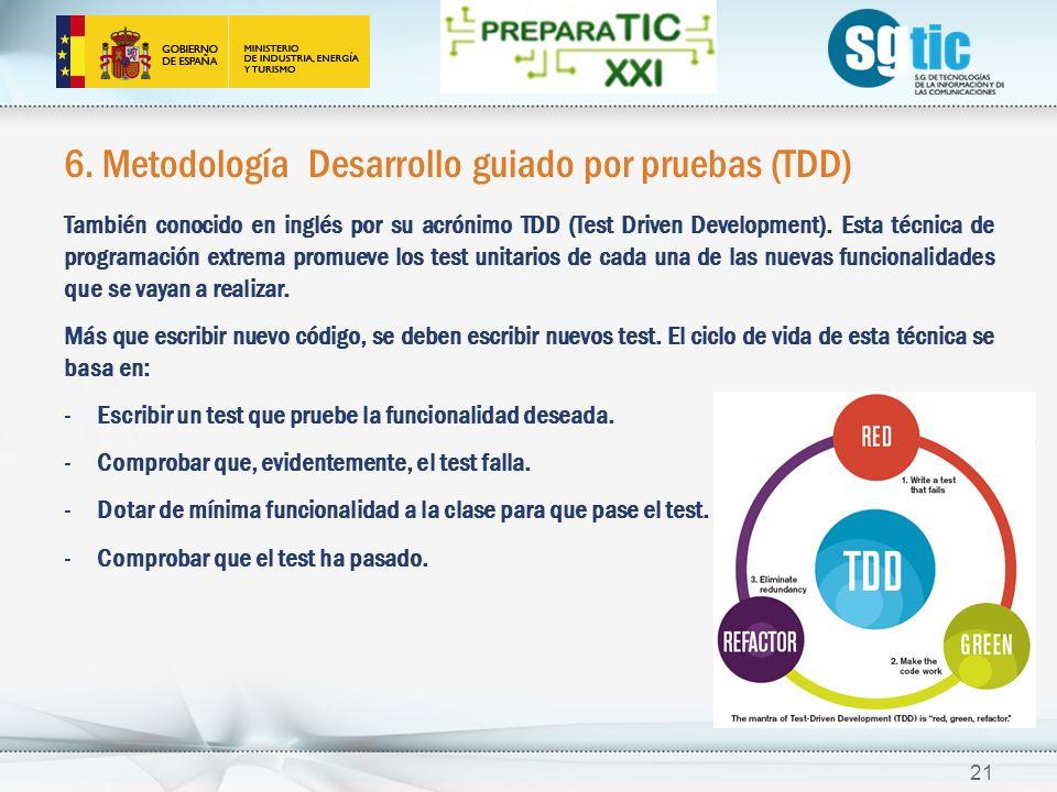 6. Metodología Desarrollo guiado por pruebas (TDD) También conocido en inglés por su acrónimo TDD (Test Driven Development). Esta técnica de programac