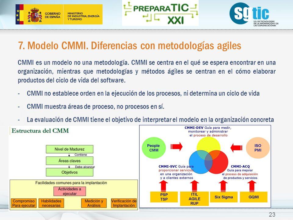7.Modelo CMMI. Diferencias con metodologías agiles CMMI es un modelo no una metodología.