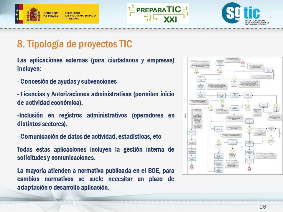 8. Tipología de proyectos TIC Las aplicaciones externas (para ciudadanos y empresas) incluyen: - Concesión de ayudas y subvenciones - Licencias y Auto