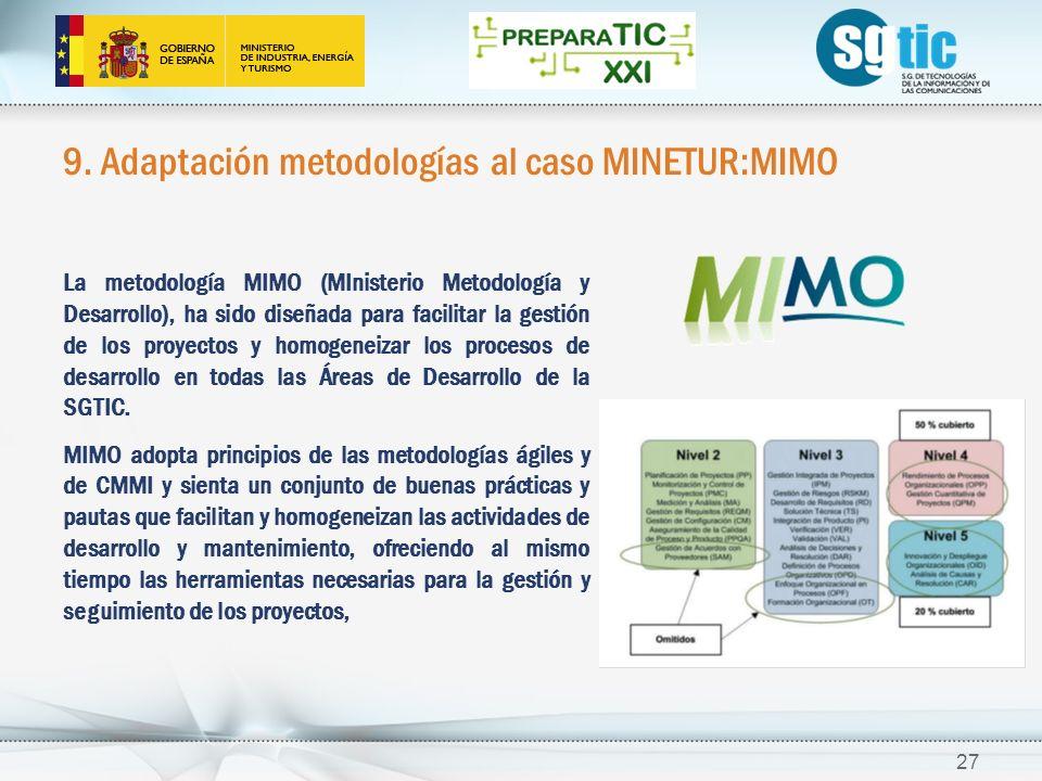 9. Adaptación metodologías al caso MINETUR:MIMO 27 La metodología MIMO (MInisterio Metodología y Desarrollo), ha sido diseñada para facilitar la gesti