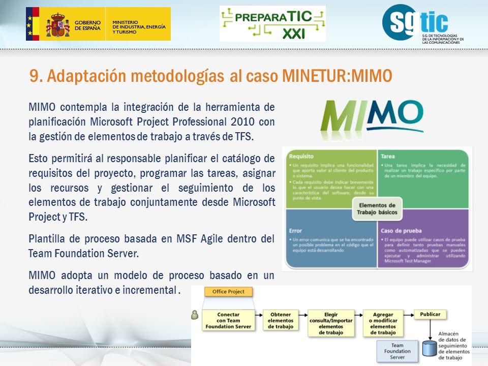9. Adaptación metodologías al caso MINETUR:MIMO 28 MIMO contempla la integración de la herramienta de planificación Microsoft Project Professional 201