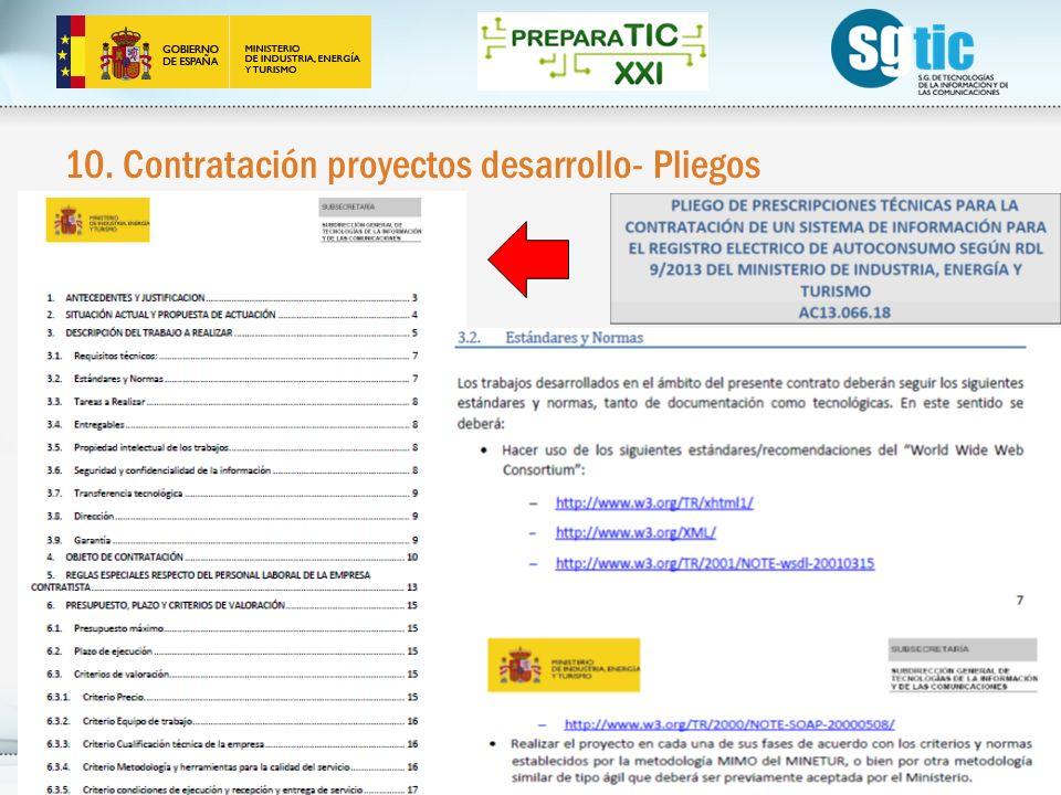 10. Contratación proyectos desarrollo- Pliegos 30