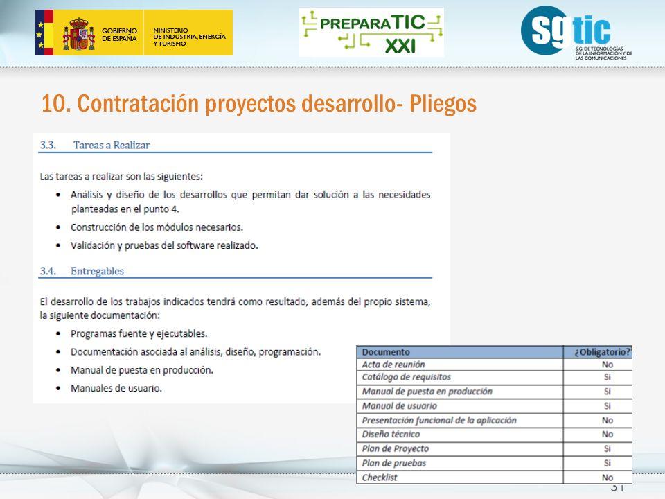 10. Contratación proyectos desarrollo- Pliegos 31