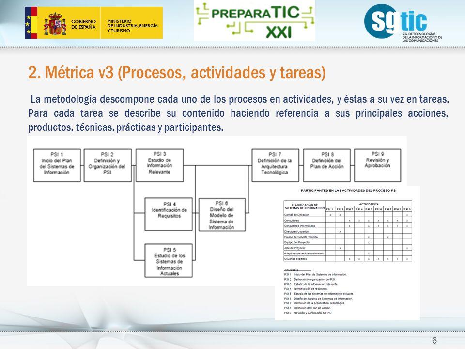 2. Métrica v3 (Procesos, actividades y tareas) La metodología descompone cada uno de los procesos en actividades, y éstas a su vez en tareas. Para cad