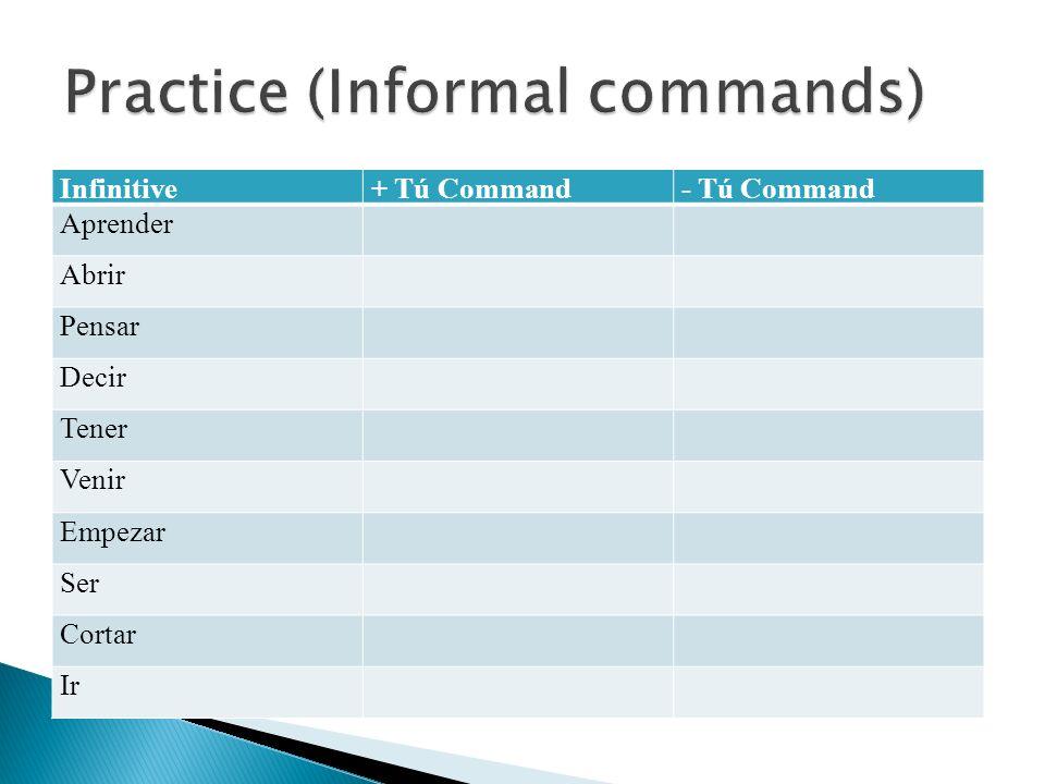 Infinitive+ Tú Command- Tú Command Aprender Abrir Pensar Decir Tener Venir Empezar Ser Cortar Ir