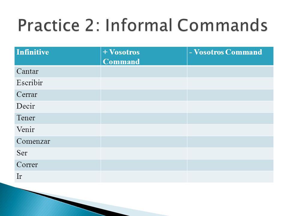 Infinitive+ Vosotros Command - Vosotros Command Cantar Escribir Cerrar Decir Tener Venir Comenzar Ser Correr Ir