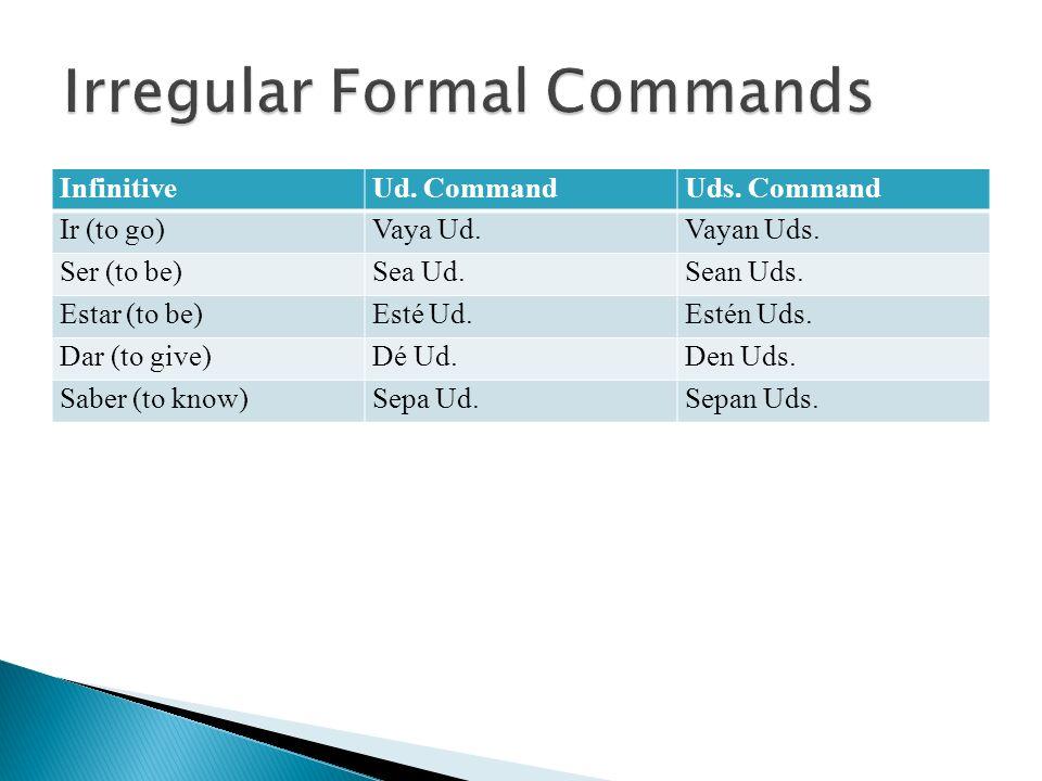 InfinitiveUd. CommandUds. Command Ir (to go)Vaya Ud.Vayan Uds. Ser (to be)Sea Ud.Sean Uds. Estar (to be)Esté Ud.Estén Uds. Dar (to give)Dé Ud.Den Uds.