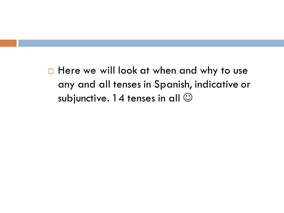 Indicative verses Subjunctive Spanish has 2 moods, indicative and subjunctive.