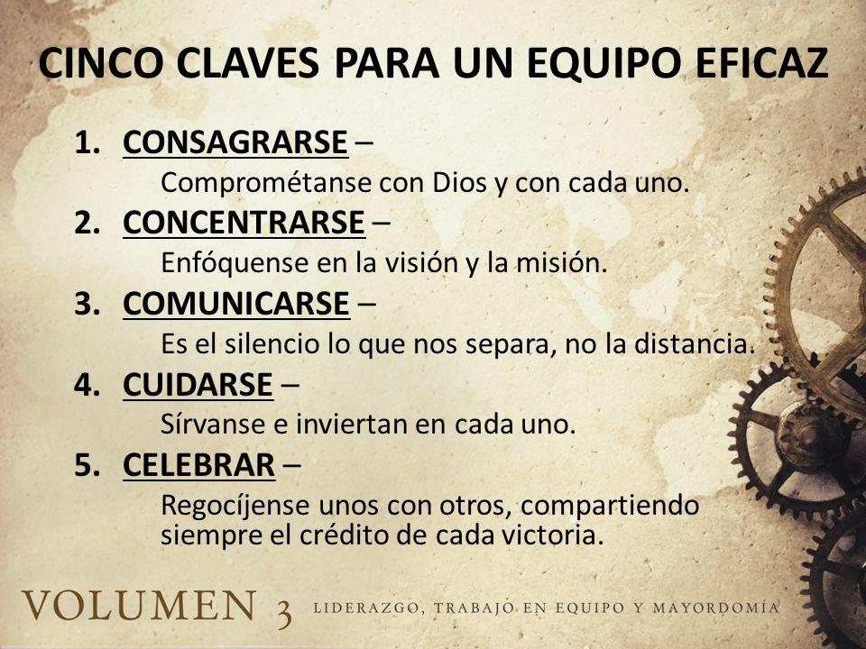 CINCO CLAVES PARA UN EQUIPO EFICAZ 1.CONSAGRARSE – Comprométanse con Dios y con cada uno. 2.CONCENTRARSE – Enfóquense en la visión y la misión. 3.COMU