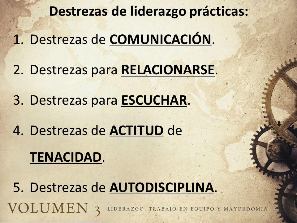 Destrezas de liderazgo prácticas: 1.Destrezas de COMUNICACIÓN. 2.Destrezas para RELACIONARSE. 3.Destrezas para ESCUCHAR. 4.Destrezas de ACTITUD de TEN