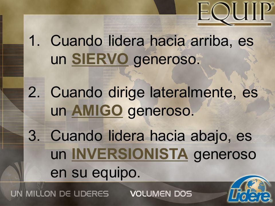 1.Cuando lidera hacia arriba, es un SIERVO generoso. 2.Cuando dirige lateralmente, es un AMIGO generoso. 3.Cuando lidera hacia abajo, es un INVERSIONI