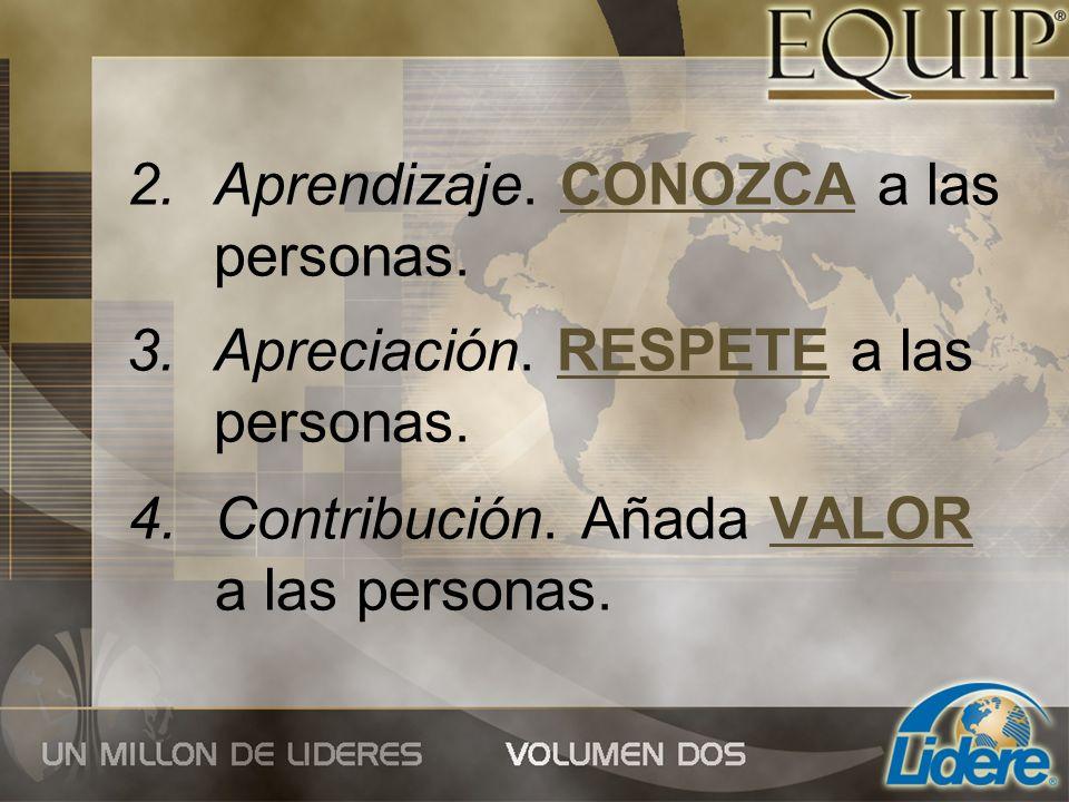4.Contribución. Añada VALOR a las personas. 2.Aprendizaje. CONOZCA a las personas. 3.Apreciación. RESPETE a las personas.