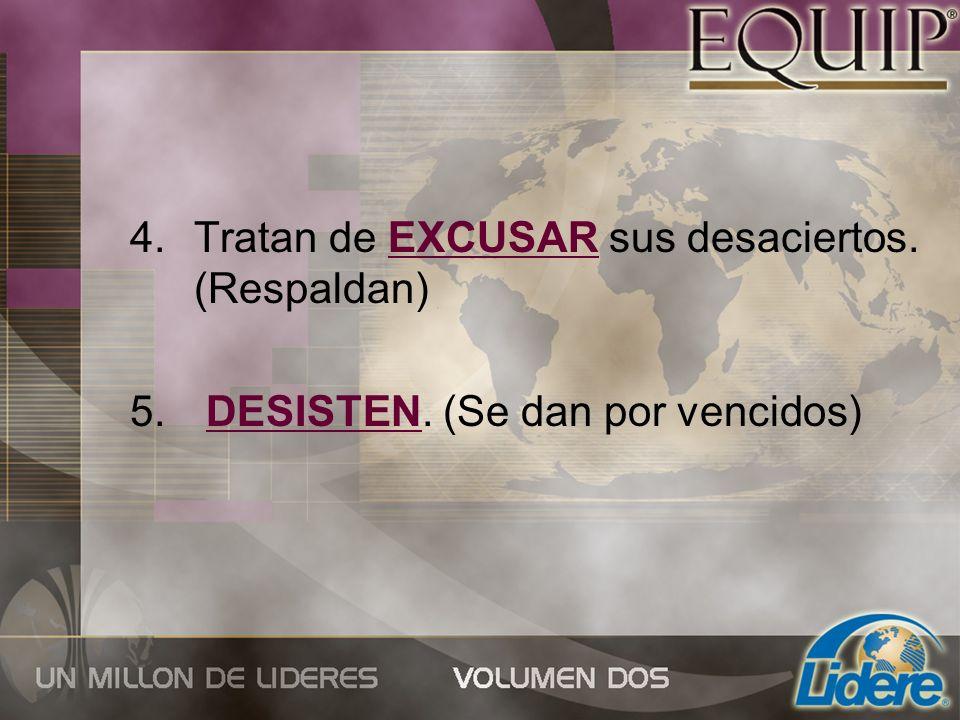 4.Tratan de EXCUSAR sus desaciertos. (Respaldan) 5. DESISTEN. (Se dan por vencidos)