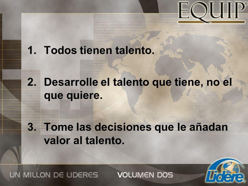 1.Todos tienen talento. 2.Desarrolle el talento que tiene, no el que quiere. 3.Tome las decisiones que le añadan valor al talento.