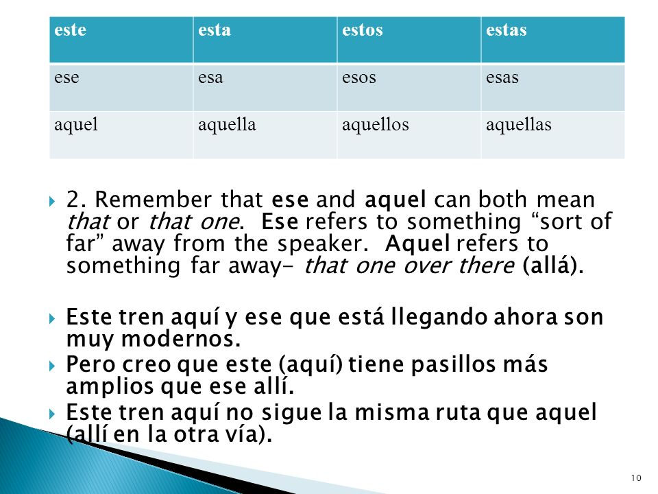 2. Remember that ese and aquel can both mean that or that one.