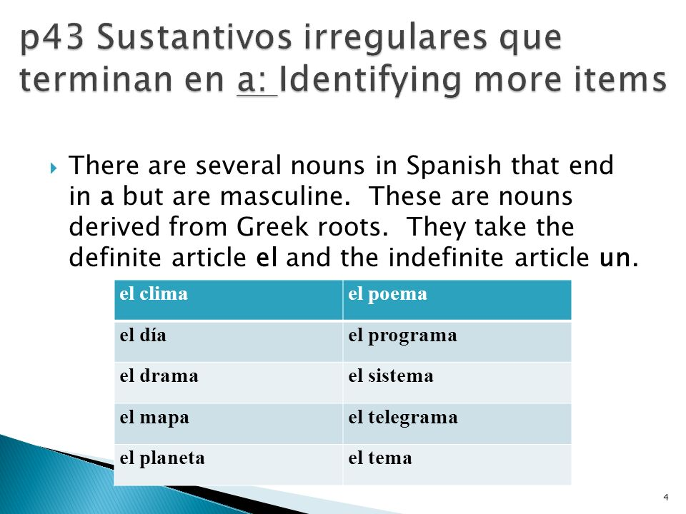 There are several nouns in Spanish that end in a but are masculine. These are nouns derived from Greek roots. They take the definite article el and th