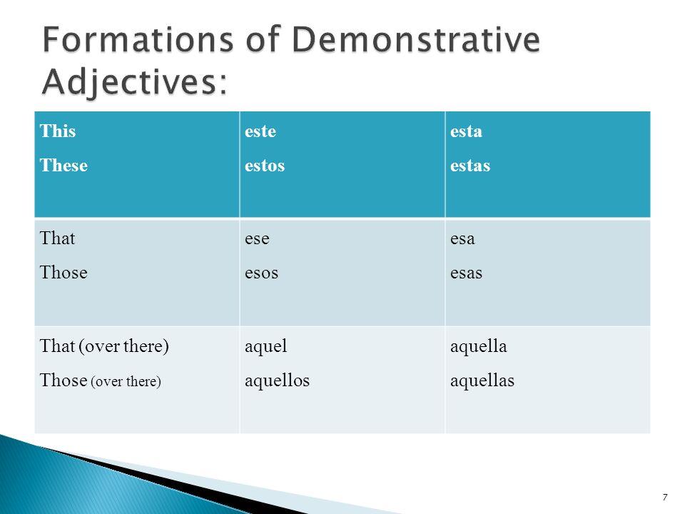 2) Pon la forma apropriada de los adjetivos demonstrativos.