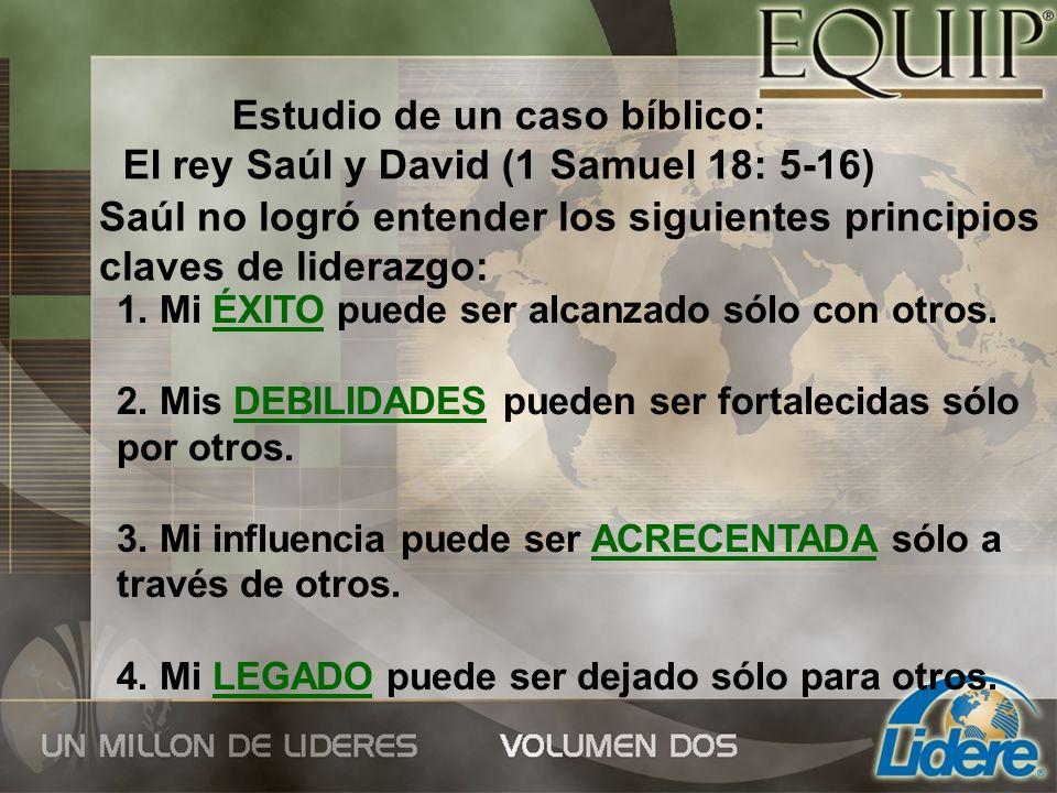 Estudio de un caso bíblico: El rey Saúl y David (1 Samuel 18: 5-16) Saúl no logró entender los siguientes principios claves de liderazgo: 1. Mi ÉXITO