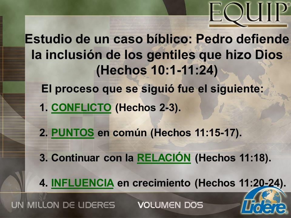 Estudio de un caso bíblico: Pedro defiende la inclusión de los gentiles que hizo Dios (Hechos 10:1-11:24) El proceso que se siguió fue el siguiente: 1