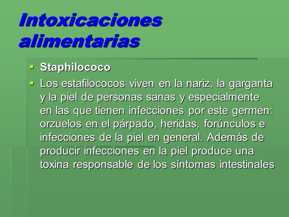 Intoxicaciones alimentarias Staphilococo Staphilococo Los estafilococos viven en la nariz, la garganta y la piel de personas sanas y especialmente en las que tienen infecciones por este germen: orzuelos en el párpado, heridas, forúnculos e infecciones de la piel en general.