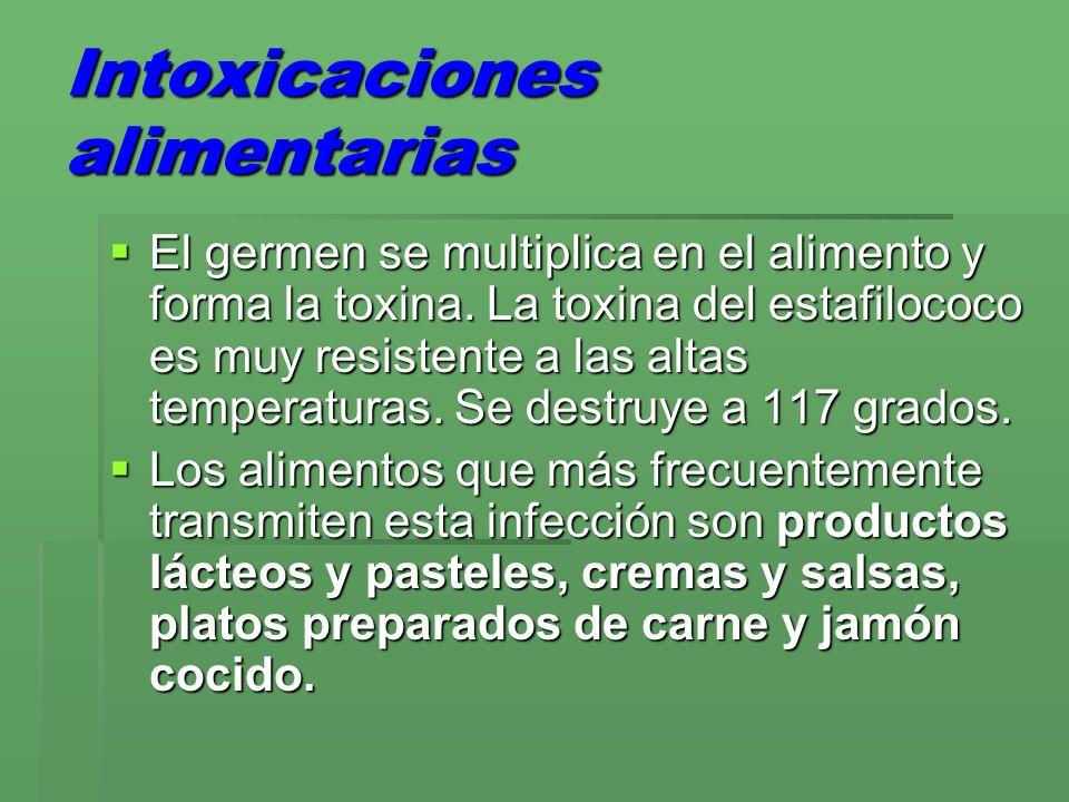 Intoxicaciones alimentarias El germen se multiplica en el alimento y forma la toxina. La toxina del estafilococo es muy resistente a las altas tempera