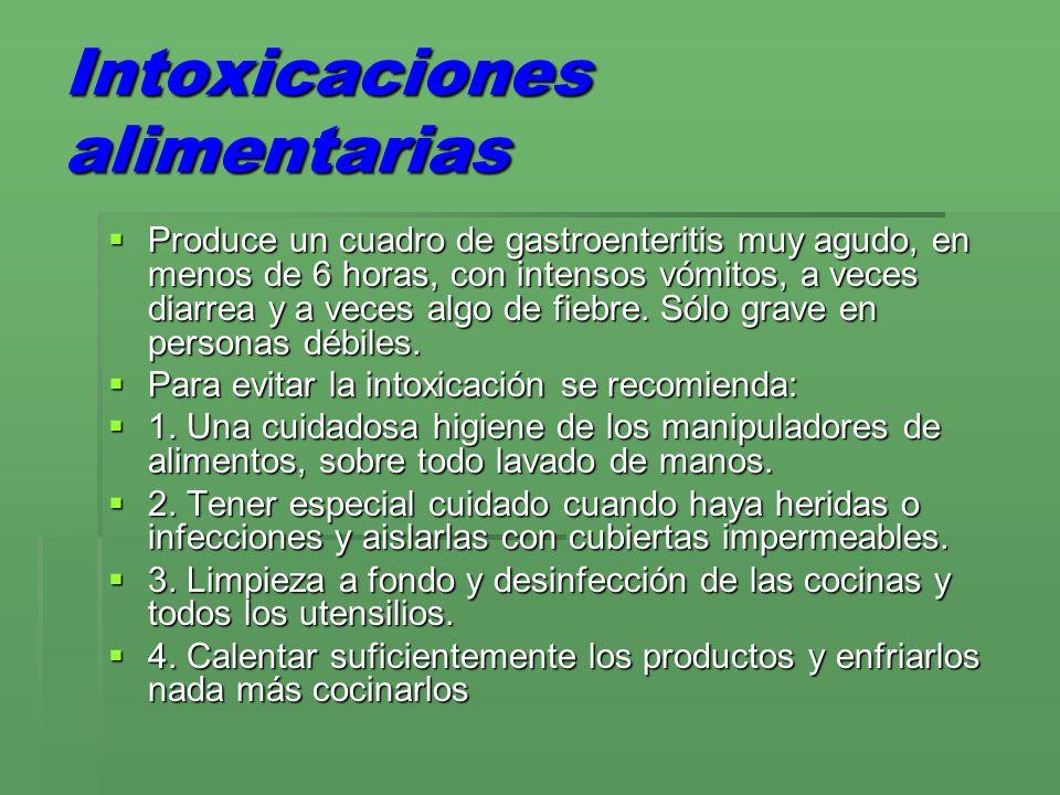Intoxicaciones alimentarias Produce un cuadro de gastroenteritis muy agudo, en menos de 6 horas, con intensos vómitos, a veces diarrea y a veces algo de fiebre.