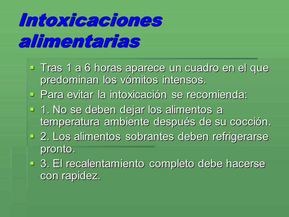 Intoxicaciones alimentarias Tras 1 a 6 horas aparece un cuadro en el que predominan los vómitos intensos. Tras 1 a 6 horas aparece un cuadro en el que