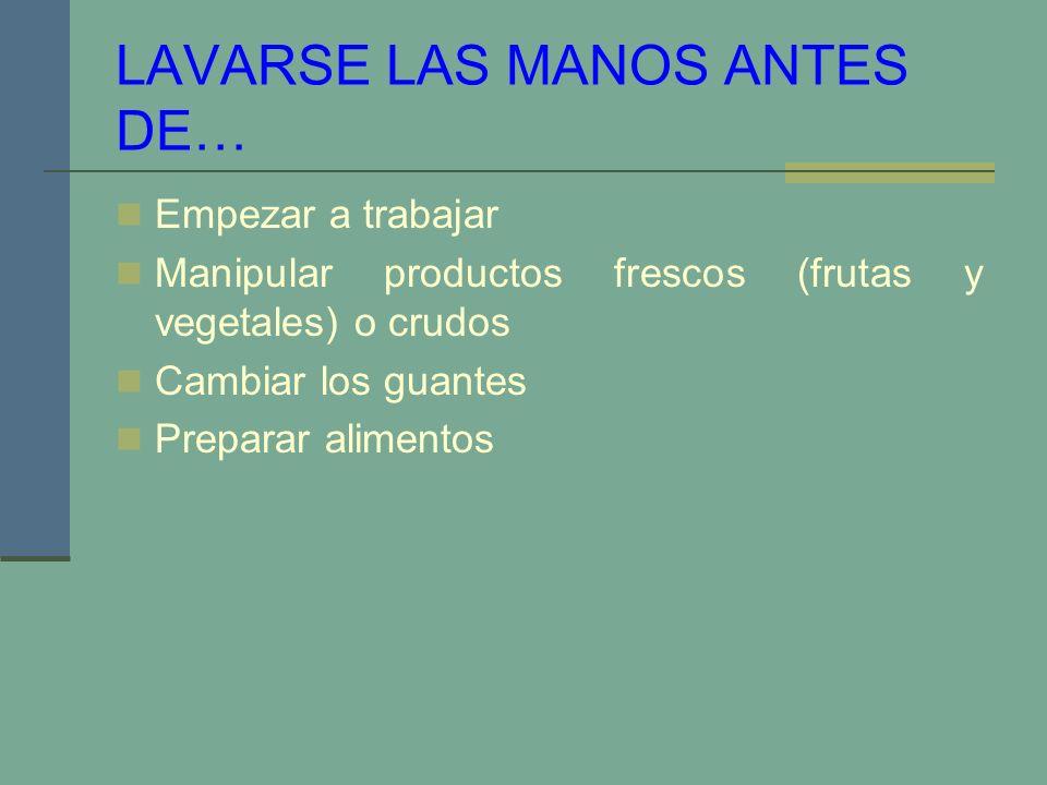 LAVARSE LAS MANOS ANTES DE… Empezar a trabajar Manipular productos frescos (frutas y vegetales) o crudos Cambiar los guantes Preparar alimentos