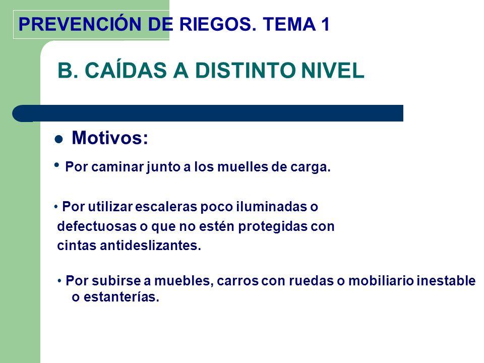 PREVENCIÓN DE RIEGOS. TEMA 1 B. CAÍDAS A DISTINTO NIVEL Motivos: Por caminar junto a los muelles de carga. Por utilizar escaleras poco iluminadas o de