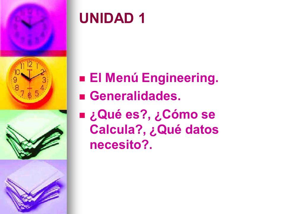 UNIDAD 1 El Menú Engineering. Generalidades. ¿Qué es?, ¿Cómo se Calcula?, ¿Qué datos necesito?.