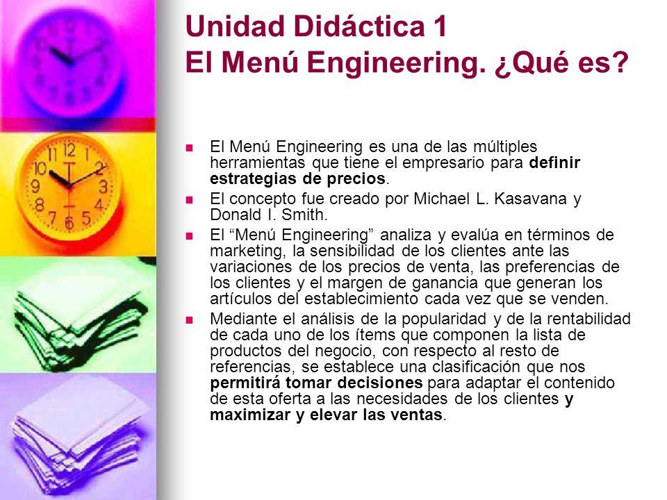 Unidad Didáctica 1 El Menú Engineering. ¿Qué es? El Menú Engineering es una de las múltiples herramientas que tiene el empresario para definir estrate