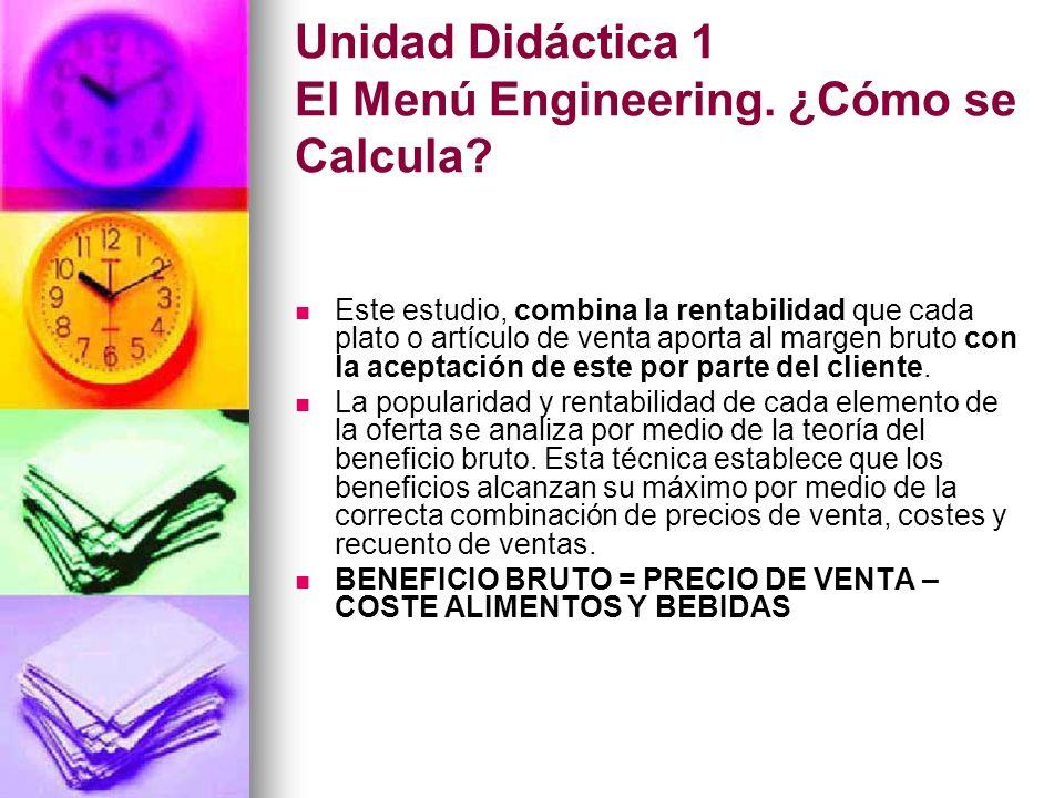 Unidad Didáctica 1 El Menú Engineering. ¿Cómo se Calcula? Este estudio, combina la rentabilidad que cada plato o artículo de venta aporta al margen br