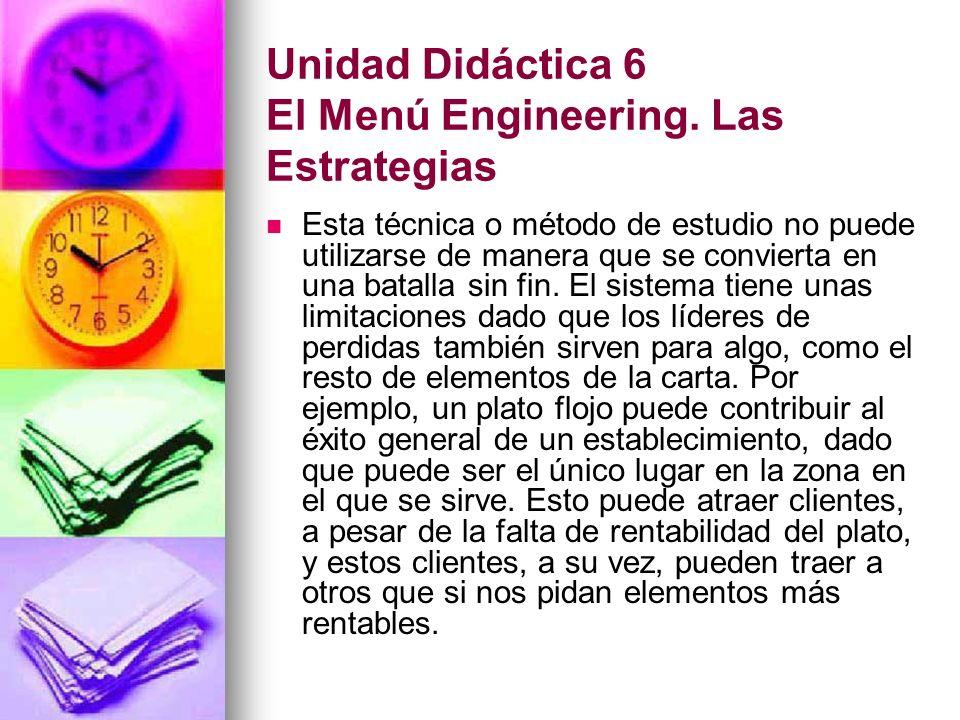 Unidad Didáctica 6 El Menú Engineering.