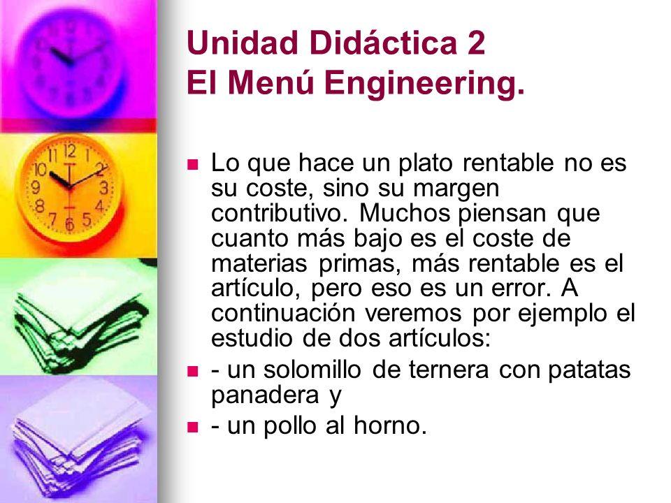 Unidad Didáctica 2 El Menú Engineering. Lo que hace un plato rentable no es su coste, sino su margen contributivo. Muchos piensan que cuanto más bajo