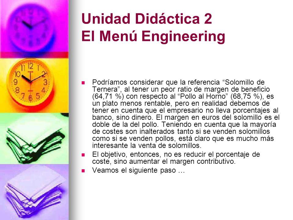 Unidad Didáctica 2 El Menú Engineering Podríamos considerar que la referencia Solomillo de Ternera, al tener un peor ratio de margen de beneficio (64,