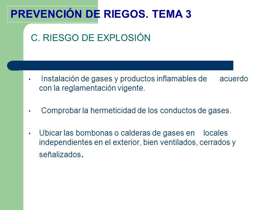PREVENCIÓN DE RIEGOS. TEMA 3 Instalación de gases y productos inflamables de acuerdo con la reglamentación vigente. Comprobar la hermeticidad de los c